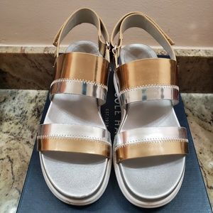 COLE HAAN Zerogrand Slide Sandal Silver Gold 5.5